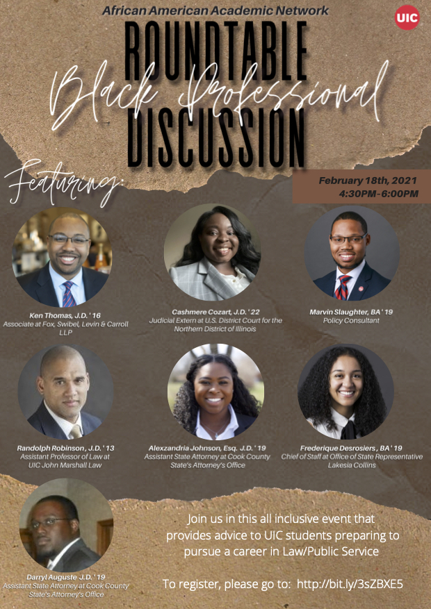 Brown background with images of former Black UIC alumni and text that reads Roundtable Black Professional Discussion