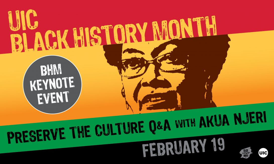 Red, Yellow, green and black color striped background with image of Akua Njeri. The text reads Preserve the Culture Q and A with Akua Njeri.