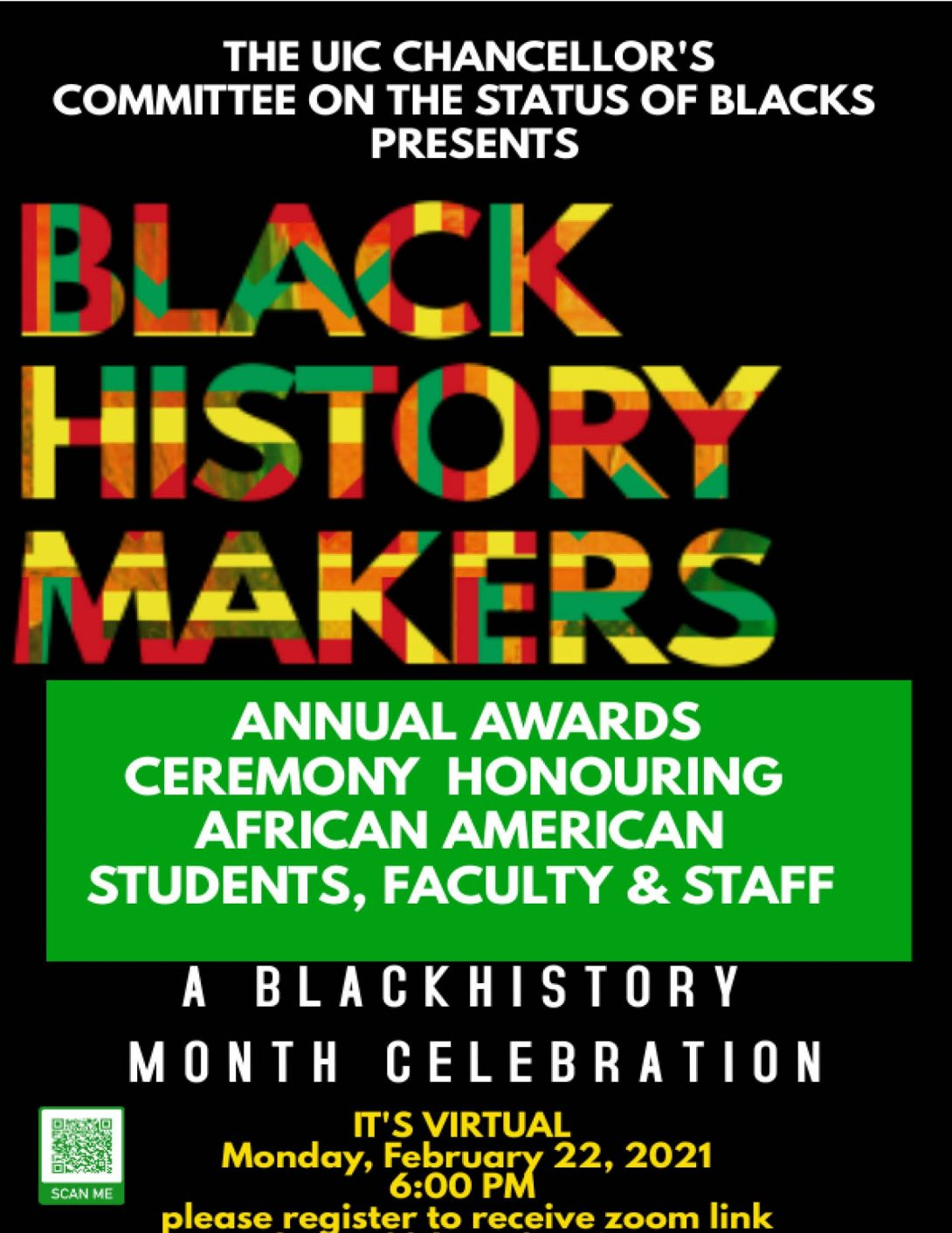 black background with green font that reads Black History Makers