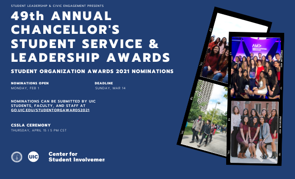 Navy background with text that reads CSSLA Awards recognizes student organizations.