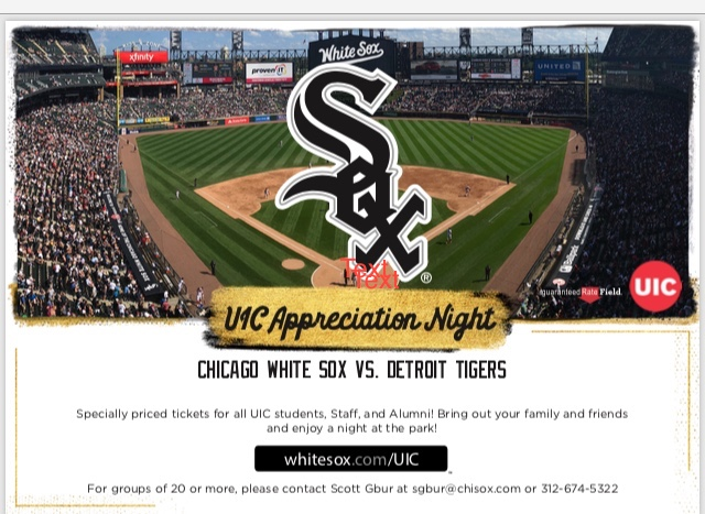Image of Chicago White Sox logo with field in the background.  UIC Night with the Chicago White Sox is October 1st, 2021.
