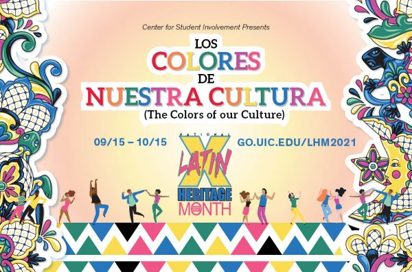 Colorful design on image displaying link for Latinx Heritage Month